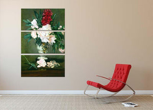 Still Life Vase with Peonies by Manet 3 Split Panel Canvas Print - Canvas Art Rocks - 2