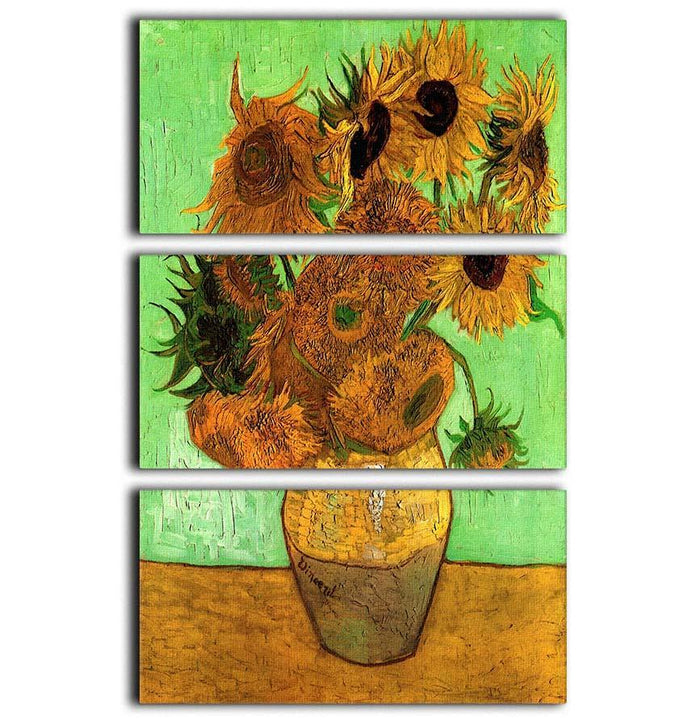 Still Life Vase with Twelve Sunflowers 2 by Van Gogh 3 Split Panel Canvas Print
