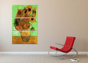 Still Life Vase with Twelve Sunflowers 2 by Van Gogh 3 Split Panel Canvas Print - Canvas Art Rocks - 2