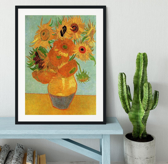 Still Life Vase with Twelve Sunflowers by Van Gogh Framed Print