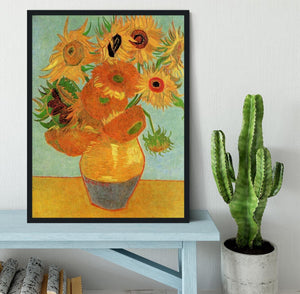 Still Life Vase with Twelve Sunflowers by Van Gogh Framed Print - Canvas Art Rocks - 2