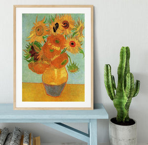 Still Life Vase with Twelve Sunflowers by Van Gogh Framed Print - Canvas Art Rocks - 3