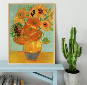 Still Life Vase with Twelve Sunflowers by Van Gogh Framed Print - Canvas Art Rocks - 4