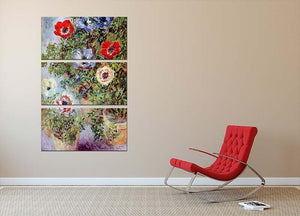 Still Life with Anemones by Monet 3 Split Panel Canvas Print - Canvas Art Rocks - 2
