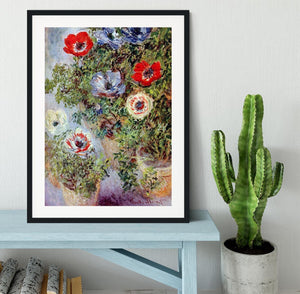 Still Life with Anemones by Monet Framed Print - Canvas Art Rocks - 1