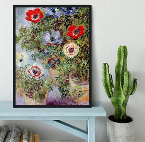 Still Life with Anemones by Monet Framed Print - Canvas Art Rocks - 2