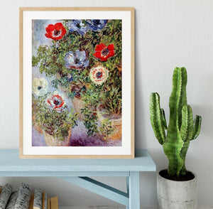 Still Life with Anemones by Monet Framed Print - Canvas Art Rocks - 3