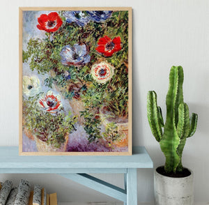Still Life with Anemones by Monet Framed Print - Canvas Art Rocks - 4