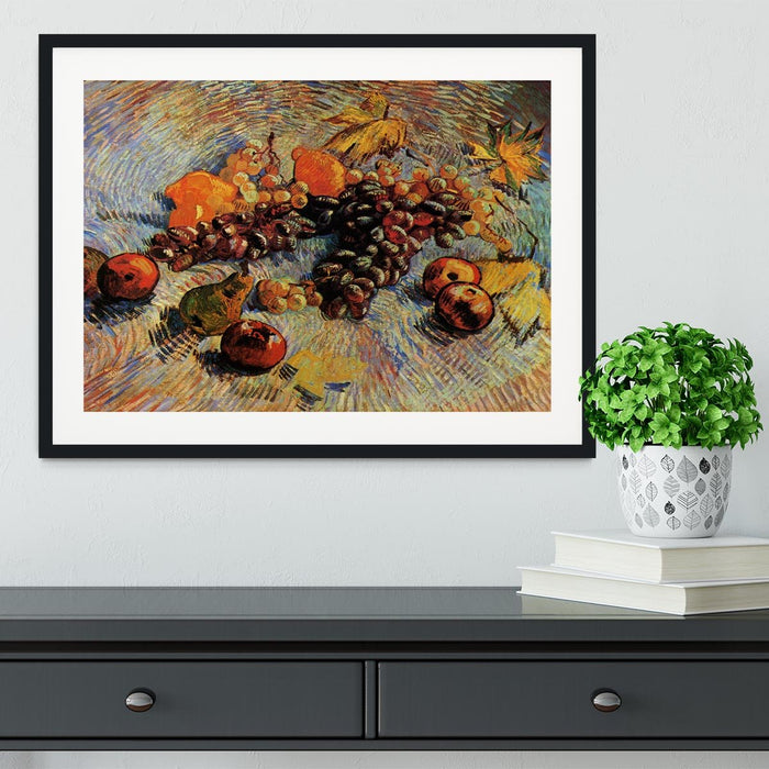 Still Life with Apples Pears Lemons and Grapes by Van Gogh Framed Print