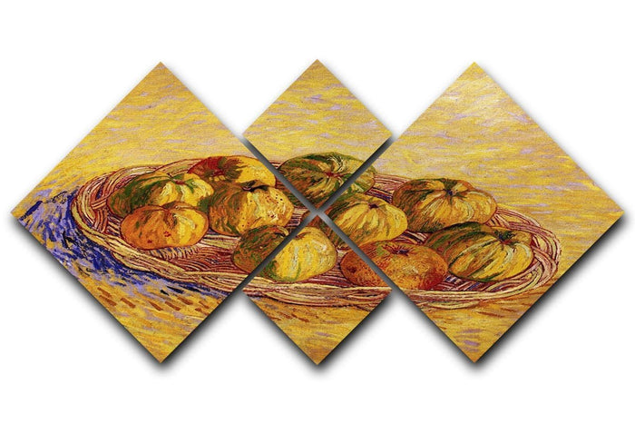 Still Life with Basket of Apples by Van Gogh 4 Square Multi Panel Canvas