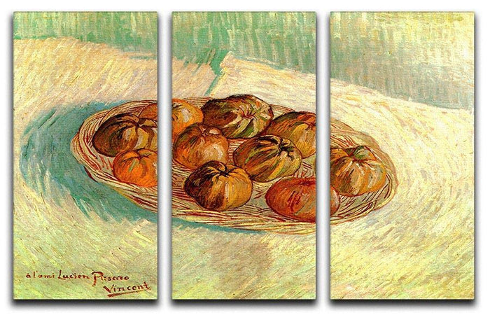 Still Life with Basket of Apples to Lucien Pissarro by Van Gogh 3 Split Panel Canvas Print