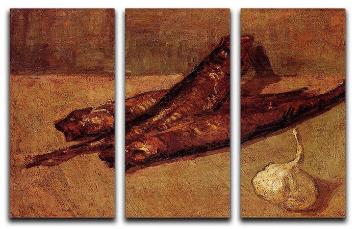Still Life with Bloaters and Garlic by Van Gogh 3 Split Panel Canvas Print