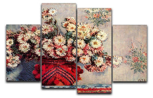 Still Life with Chrysanthemums by Monet 4 Split Panel Canvas  - Canvas Art Rocks - 1