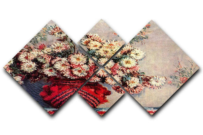 Still Life with Chrysanthemums by Monet 4 Square Multi Panel Canvas