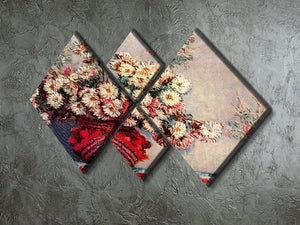 Still Life with Chrysanthemums by Monet 4 Square Multi Panel Canvas - Canvas Art Rocks - 2