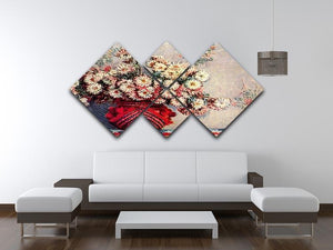 Still Life with Chrysanthemums by Monet 4 Square Multi Panel Canvas - Canvas Art Rocks - 3