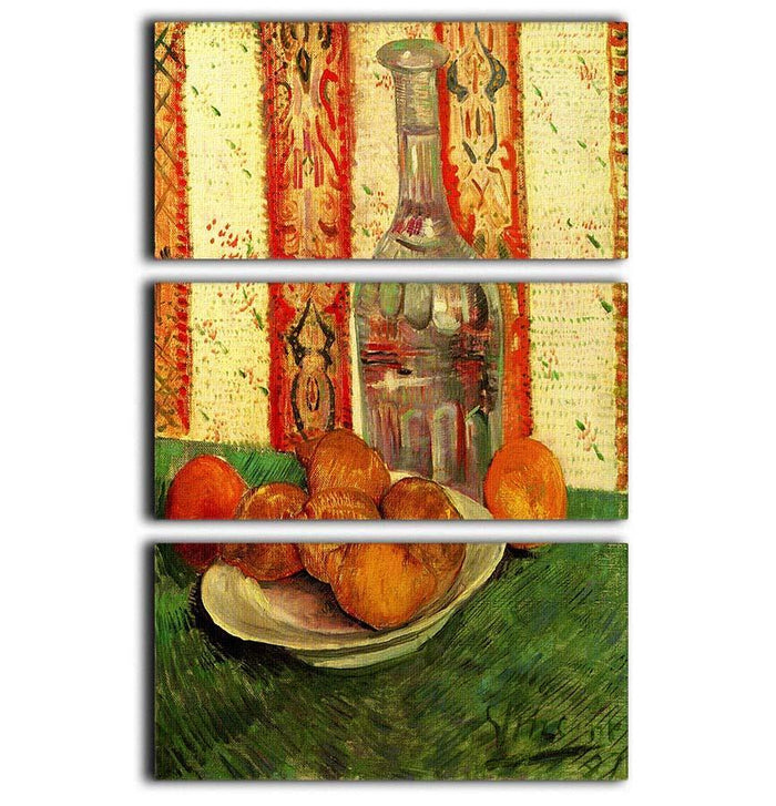 Still Life with Decanter and Lemons on a Plate by Van Gogh 3 Split Panel Canvas Print