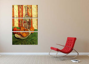 Still Life with Decanter and Lemons on a Plate by Van Gogh 3 Split Panel Canvas Print - Canvas Art Rocks - 2