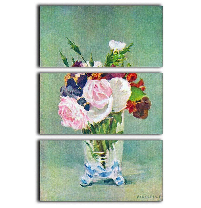 Still Life with Flowers 2 by Manet 3 Split Panel Canvas Print