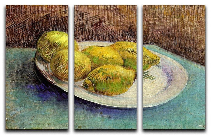 Still Life with Lemons on a Plate by Van Gogh 3 Split Panel Canvas Print