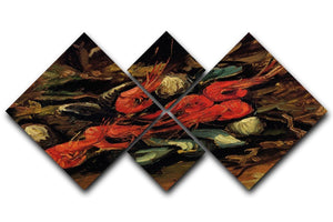 Still Life with Mussels and Shrimps by Van Gogh 4 Square Multi Panel Canvas  - Canvas Art Rocks - 1