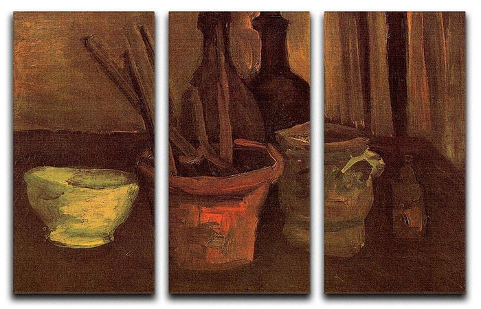 Still Life with Paintbrushes in a Pot by Van Gogh 3 Split Panel Canvas Print