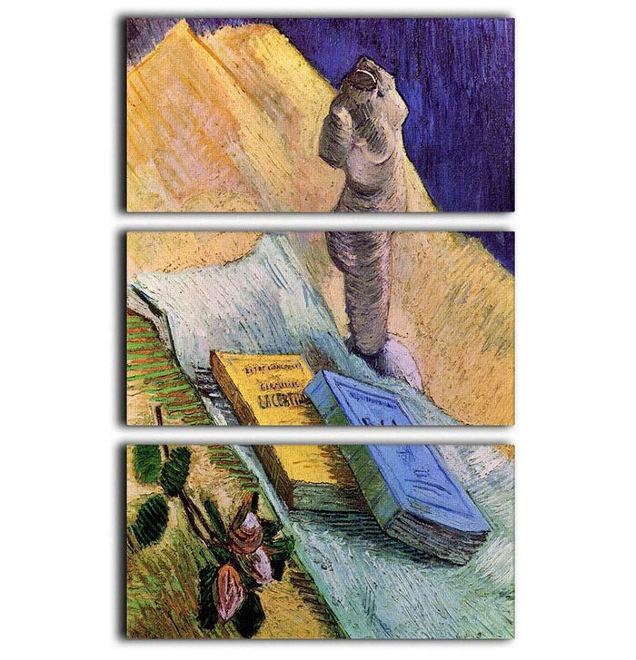 Still Life with Plaster Statuette a Rose and Two Novels by Van Gogh 3 Split Panel Canvas Print