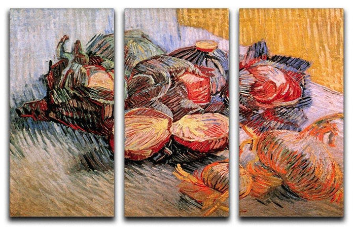 Still Life with Red Cabbages and Onions by Van Gogh 3 Split Panel Canvas Print