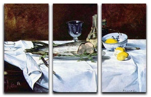 Still Life with Salmon by Manet 3 Split Panel Canvas Print - Canvas Art Rocks - 1
