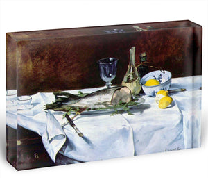 Still Life with Salmon by Manet Acrylic Block - Canvas Art Rocks - 1