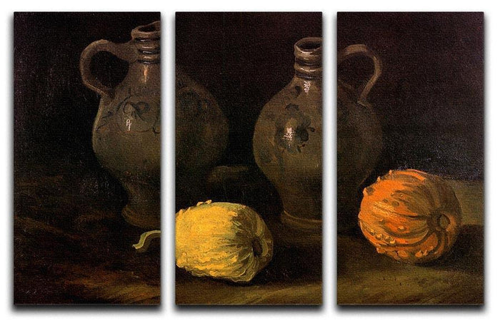 Still Life with Two Jars and Two Pumpkins by Van Gogh 3 Split Panel Canvas Print