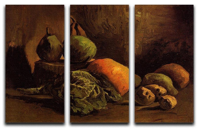 Still Life with Vegetables and Fruit by Van Gogh 3 Split Panel Canvas Print