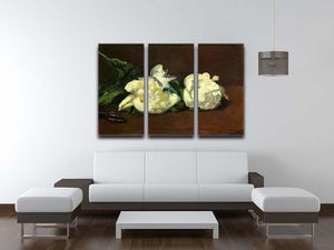 Still life White Peony by Manet 3 Split Panel Canvas Print - Canvas Art Rocks - 3
