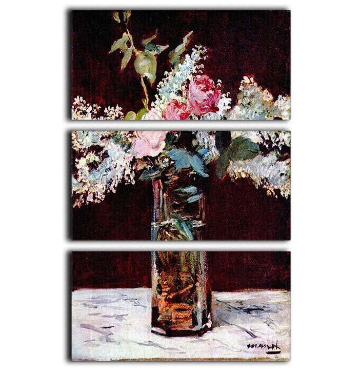 Still life lilac and roses by Manet 3 Split Panel Canvas Print