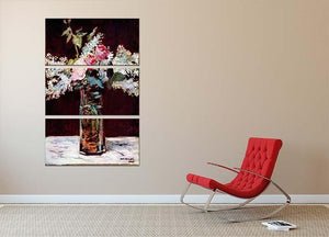 Still life lilac and roses by Manet 3 Split Panel Canvas Print - Canvas Art Rocks - 2