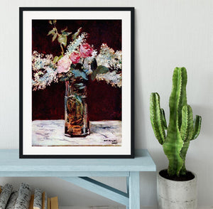 Still life lilac and roses by Manet Framed Print - Canvas Art Rocks - 1