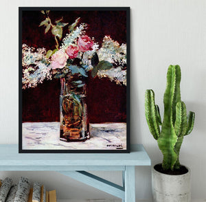 Still life lilac and roses by Manet Framed Print - Canvas Art Rocks - 2
