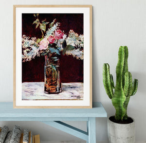 Still life lilac and roses by Manet Framed Print - Canvas Art Rocks - 3