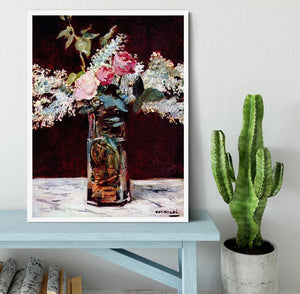 Still life lilac and roses by Manet Framed Print - Canvas Art Rocks -6