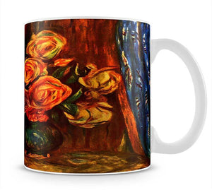 Still life roses before a blue curtain by Renoir Mug - Canvas Art Rocks - 1