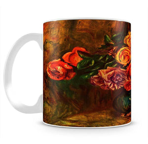 Still life roses before a blue curtain by Renoir Mug - Canvas Art Rocks - 2