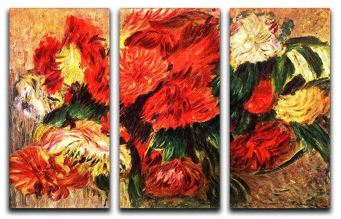 Still life with Chrysanthemums by Renoir 3 Split Panel Canvas Print