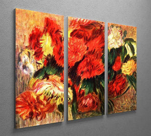Still life with Chrysanthemums by Renoir 3 Split Panel Canvas Print - Canvas Art Rocks - 2