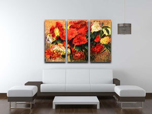 Still life with Chrysanthemums by Renoir 3 Split Panel Canvas Print - Canvas Art Rocks - 3
