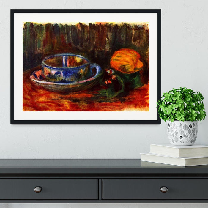 Still life with cup by Renoir Framed Print