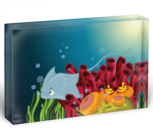 Sting ray hiding between water plants Acrylic Block - Canvas Art Rocks - 1
