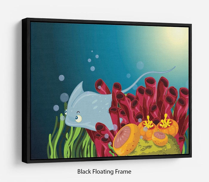 Sting ray hiding between water plants Floating Frame Canvas