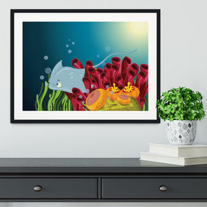Sting ray hiding between water plants Framed Print - Canvas Art Rocks - 1