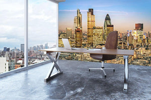 Stock Exchange Tower and Lloyds of London Wall Mural Wallpaper - Canvas Art Rocks - 3