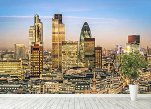 Stock Exchange Tower and Lloyds of London Wall Mural Wallpaper - Canvas Art Rocks - 4